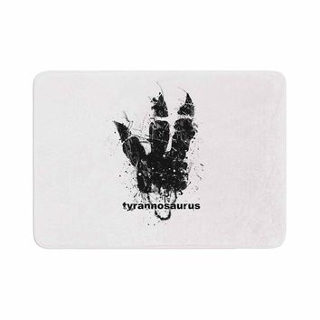 "BarmalisiRTB ""Tyrannosaurus Track"" Black White Animals Love Digital Illustration Memory Foam Bath Mat"