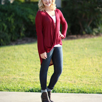 To Be or Knot To Be Tunic - Burgundy Shorter Length