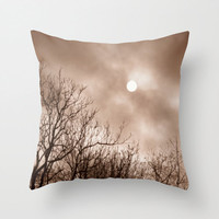 Sun Pillow, Moon Pillow Case, Tree Silhouette Pillow, Winter Pillow, Gothic Decor, Earthy Decor, Nature Home Decor 16X16 18X18 Throw Pillow