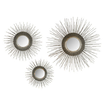 Safavieh Sunburst Triptych Mirrors (Set of 3) - Gold