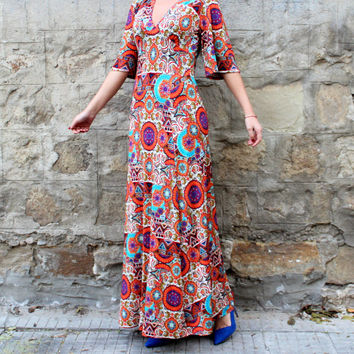 NEW SPRING 2016 Floral Maxi dress, Boho dress, Maxi Dress, Plus size dress, Elegant dress, Party dress, Long dress, Dress with pockets