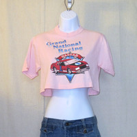 Vintage 80s NASCAR RACING GRAPHIC Women Small Soft Pink Beach Summer Sportswear 50/50 Cropped 1/2 T-Shirt