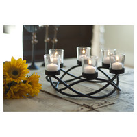 DanyaB Round Waves Iron and Glass Candle Holder