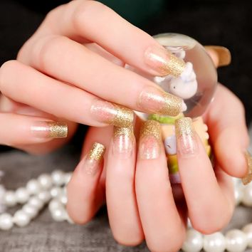 Glitter Clear Fake Nails Glitter Gold French Artificial Lady Fake Nail Press On Nail Manicure Tools Z344