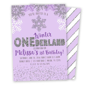 Purple Winter ONEderland Invitation - Purple and Silver 1st Birthday Invitations - Girl 1st Birthday Invite - Winter Wonderland Snowflake