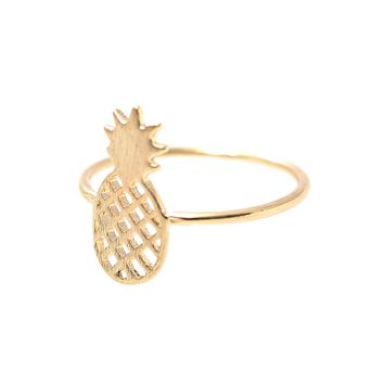 Handcrafted Brushed Metal Pineapple Fruit Ring.