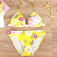 Cute fashion yellow floral print halter two piece bikini