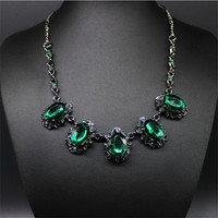 Stunning Vintage Crystal Necklace with Black Chain. A Great Gift idea.