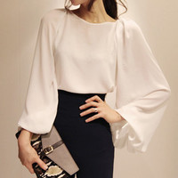 White Loose Long Sleeve Chiffon Blouse