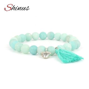 Shinus Bracelet Men Chakra Bracelets Women Yoga Natural Stone Beads Matte Amazonite Love Heart Meditation Jewelry Lovers Gift