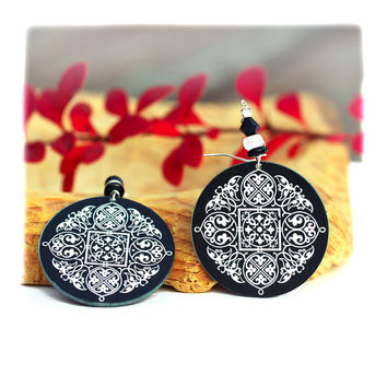 Celtic Mandala Earrings rosette Round winter elegant by MADEbyMADA