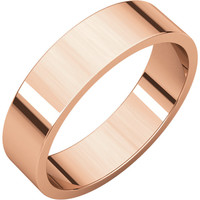 10k Rose-Pink Gold 5mm Flat Wedding Band Ring - Bridal Jewelry: RingSize: 50