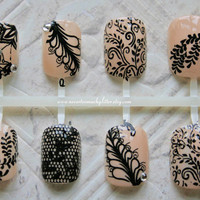 Japanese Nail Art Black Chantilly Lace by Nevertoomuchglitter