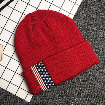 Exclusive - American Flag Cap Hat - Unisex Two Tone Winter Warm - Knit Thick Slouch Beanie - Gift