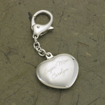 Personalized Heart Silver Plated Key Chain