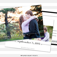 Calligraphy Postcard Save the Date, Custom Engagement Photo Card, Modern Save-the-Date Photo Card - Kelsey