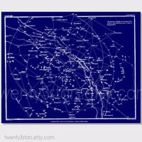 Vintage Constellation Star Map Wall Art - Choose Any Colors - twenty3stars