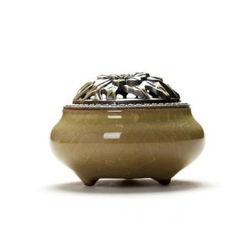 Ceramic Coil Incense Burners Holder with Metal Copper Cover  M