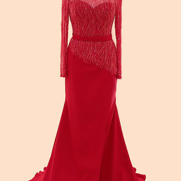 Long Sleeves Red Beaded Cap Sleeves Prom Party Dresses ED1033