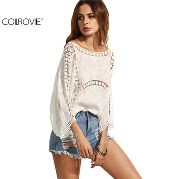 Beige Hollow Out U Back Three Quarter Length Sleeve Shirt Women Loose Clothing Round Neck Blouse