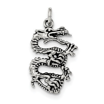 Sterling Silver Antiqued & Textured Dragon Pendant