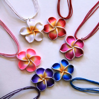 Handmade Flower Polymer Clay Necklace. Adjustable Necklace, Hibiscus Necklace