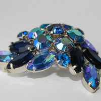 Vintage Blue Brooch Aurora Borealis by purrfectstitchers on Etsy