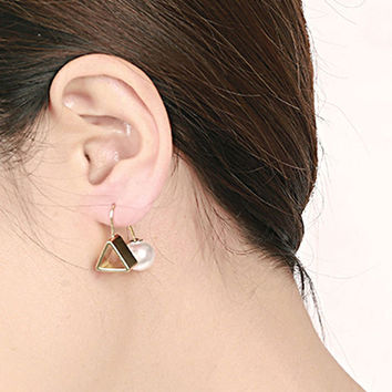 Golden Faux Pearl Embellished Triangle Through Earrings