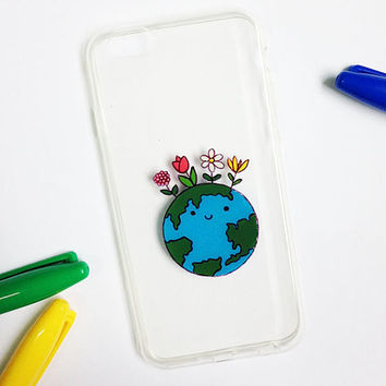 Hand painted Earth phone case, iPhone 6 case, iPhone 7 case, iPhone 6s case, Samsung Galaxy S7 Edge Case, Cute Phone Case, Galaxy S8 Case