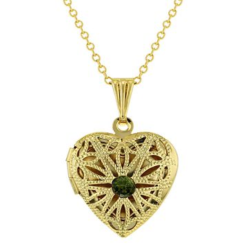Gold Tone Small Heart Photo Locket Pendant Green Crystal Necklace 19""