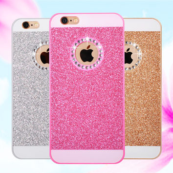 For Case iPhone 6s With LOGO Ultra Thin Diamond Bling Glitter Powder Hard Back Cover For iPhone 6 Case Silicone For 5S SE 6 Plus