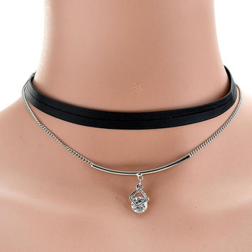 New Trendy Punk Style Black PU Leather Chain Crystal Simulated Pearl Necklace Clavicle Chain Choker Necklace