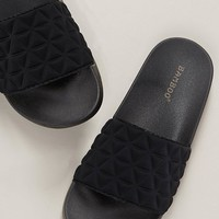 Quilted Fabric Wide Band Slide Sandals