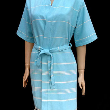 Women's turquoise colour soft cotton short kimono bathrobe, dressing gown, bridesmaid robe, bridal robe.