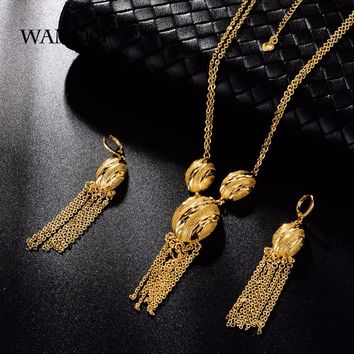 Tassel Gold Necklace Earrings Bracelet Jewelry Set, Balls Golden Africa /