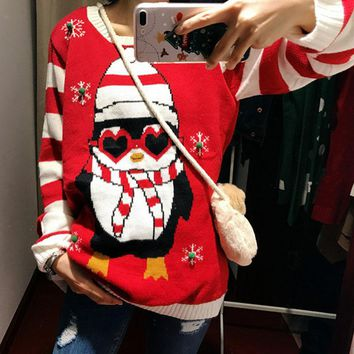 2017 new LED Light Up Ugly Christmas penguin Jumpers for women Knitted Xmas Party Pullover Sweaters Plus Size XXL