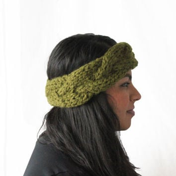 Cable Knit Headband, Women's Headband, Chunky Knits, Olive Green, Wool Headband, Chunky Earwarmer, Knit Accessories