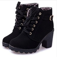 New platform high heel single shoes vintage Women Motorcycle Boots Martin Boots