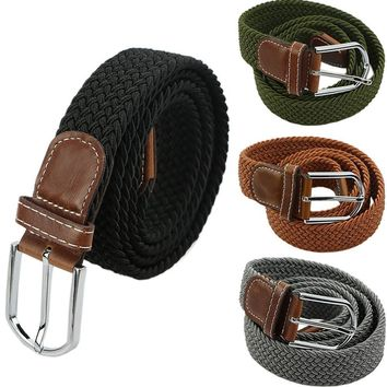 Mens Woven Stretch Braided Elastic Leather Buckle Belt Unisex Waistband Belts-J117