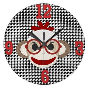 Sock Monkey CUSTOMIZABLE WALL CLOCK