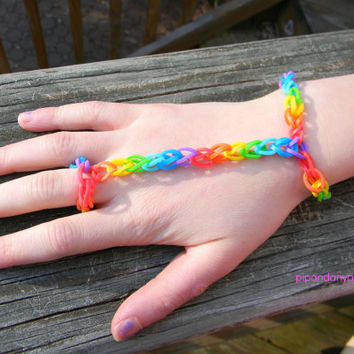 Bracelet with Ring Attached, Rainbow Loom Bracelet, Loom Band Bracelet, Rubber Band bracelet with ring