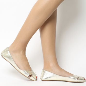 Office Face To Face Peep Toe Flats Gold Leather - Flats
