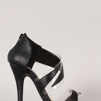 Liliana Lucite Open Toe Dress Heel