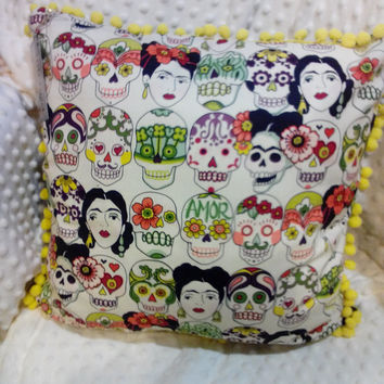 Fun Sugar Skull Freida Kahol Decorative Pillow