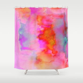 Abstract Cloud Formation in Shades of Red, Gold and Pink Shower Curtain by Jenartanddesign
