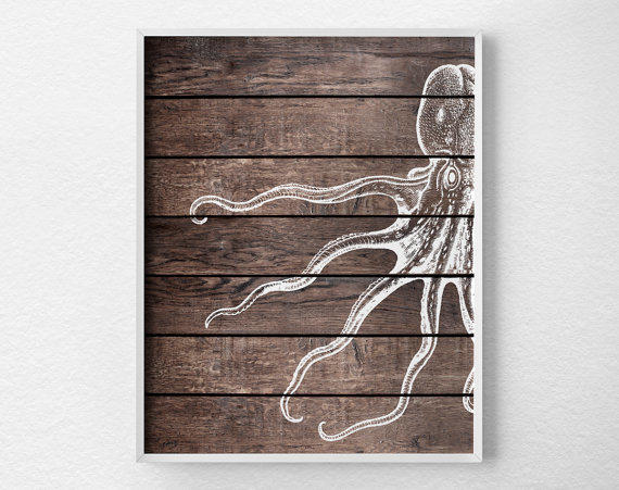 Nautical Octopus Art Print, Nautical From Lotus Leaf Creations