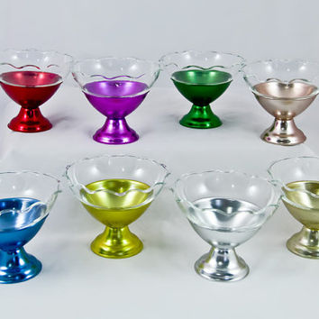 Vintage  1950s Set of 8 Ice Cream Parlor Sunday Dishes in Colorful Aluminum