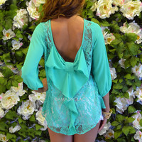 Kitty Hawk Emerald Lace Bow Back Top