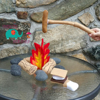 Felt campfire bonfire play set, embroidered, make believe, camping, smores, pretend