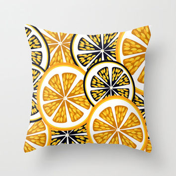 Modern Contemporary Orange Slice Pattern Decorative Throw Pillow or Pillow Cover